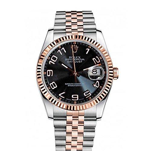 Rolex Datejust 36mm Black Concentric Roman Dial Men's Watch 116231