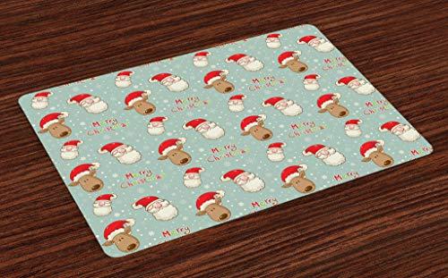 ABAKUHAUS Navidad Salvamantel Set de 4 Unidades, Santa Claus y su Reno Celebrando Festividad Caricatura Vintage en Copos de Nieve, Lavable Colores Firmes para el Comedor y la Cocina, Multicolor