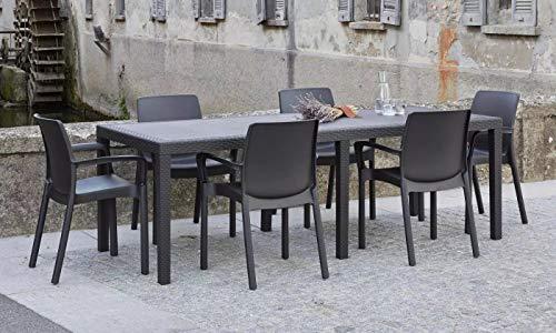 Dmora Tavolo Rettangolare Esterno, Made in Italy, 150 x 72 x 90 cm (allungabile Fino a 220 cm), Color Antracite
