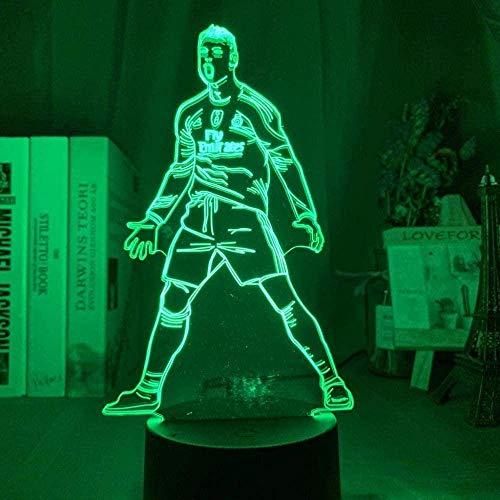 Festival Lámpara de Ilusión 3D Luz de Noche Led Figura de Cristiano Ronaldo para Decoración del Hogar Sensor Táctil Regalo Que Cambia de Color para Niños Lámpara de Mesa Infantil