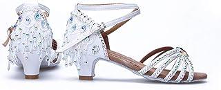 ZED- Meisjes Latin Dance schoenen hoge hakken balzaal performance sandalen - pailletten schoenen gezellig zachte zool stan...