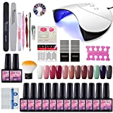 Saint-Acior UV/LED Lámpara 36W Secador de Uñas Kit Uñas de Gel 12PCS Gel Uñas Esmalte Semipermanente Soak off 8ml Capa Base Capa Superior Set de Manicura