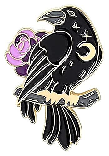Lzpzz Broches para mujer, 1 pieza de alfileres de dibujos animados oscuros con diseño de cuervo negro con calavera, rosa, regalo para amigos, colección de accesorios de bricolaje (color: 2)