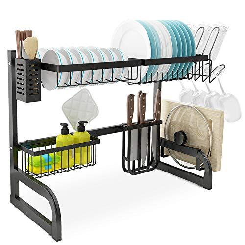 調整可能 シンク上 食器 水切りラック 水切りかご シンク上水切りラック 台所用品ホルダ 食器 水切りかご ステンレス製 (63-80CM)