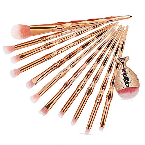 Yesmile Pinceaux De Maquillage 12Pcs Make Up Fondation Sourcils Eyeliner Fard à Joues CosméTiques Correcteur Pinceaux Maquillage Brosses (F,