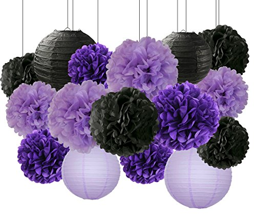 HappyField Bridal Shower Decorations Halloween Decorations 16 Pcs Black Lavender Purple 10inch 8inch Tissue Paper Pom Poms Black Purple Party Decorations Purple 2020 Graduation Party Supplies