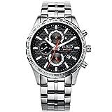 JIUSKO 62LS02 - Reloj para Hombres, Correa de Acero Inoxidable Color Plateado