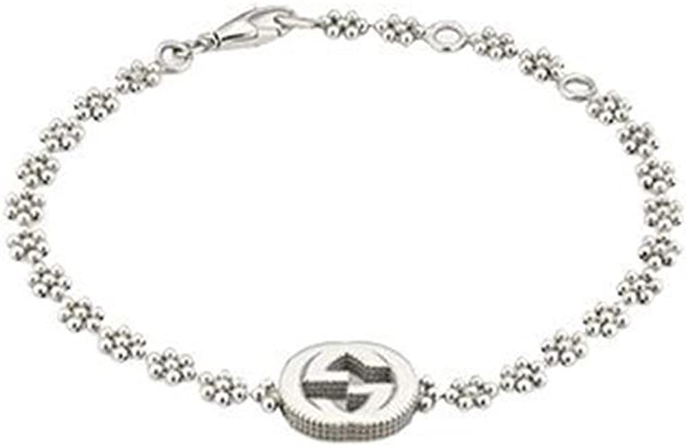 Gucci interlocking g, bracciale per donna, in argento sterling 925 YBA48168700100U