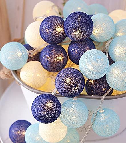 Coding Cadena de luces de bolas de algodón, 2 m, 10 luces LED, funciona con pilas, lámpara de pared para habitación infantil, luz nocturna, fiesta, boda (azul)