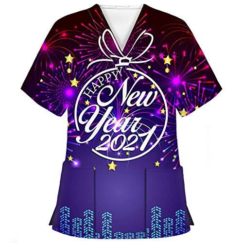 WERVOT Damen Uniform Arbeitsoveralls Unisex Schmetterling 2021 Frohes Neues Jahr Oberteile V-Ausschnitt Kurzarm Arbeitskleidung Pflege Bunt Berufskleidung Taschen Schlupfhemd(A8 Lila,S)
