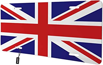 Beabes British UK Flag Front License Plate Cover,Britain Union Jack Flag Blue red White Decorative License Plates for Car,Aluminum Novelty Auto Car Tag Vanity Plates Gift for Men Women 6x12 Inch