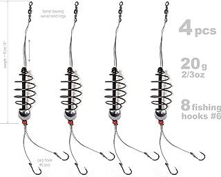 4 pcs Inline Carp Fishing Feeder Bait 20g-2/3oz, 6x Fishing Hook, Fishing Tackle