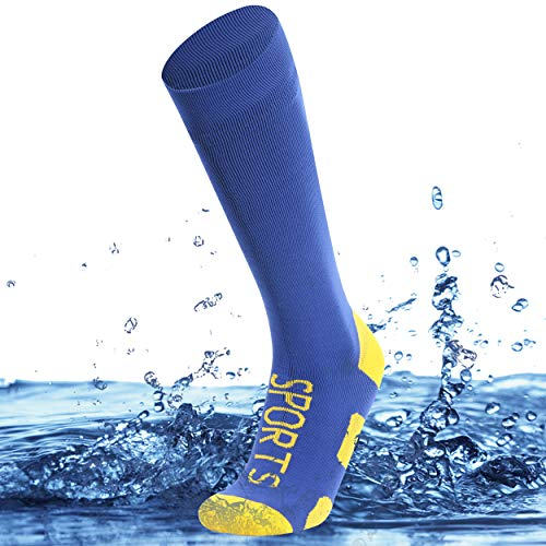 SuMade Womens Waterproorf Fishing Socks, Boys Girls Comfortable Knee High Dry Fit Moisture Wicking Trail Running Thick Sports Cycling Camping Socks Winter Outdoor Hiking Socks 1 Pair (Blue, Small)