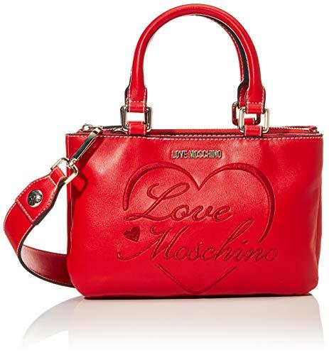 Love Moschino Precollezione FW20, Borsa a Mano da Donna in Pelle Sintetica PU Romantic Logo, Rosso, Normale