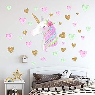 Unicorn Wall Decals,Unicorn Wall Sticker Decor with Heart...
