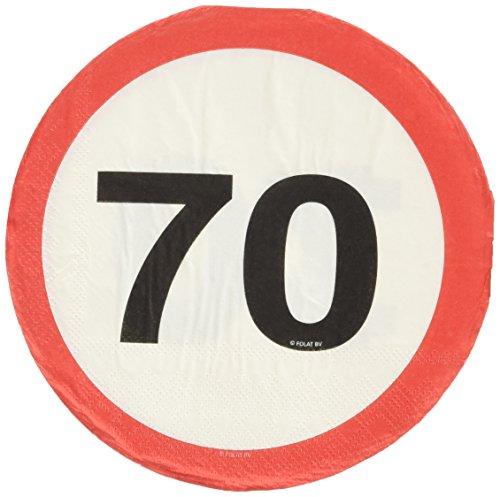 Tovaglioli con segnale stradale 70 anni - 20 pezzi