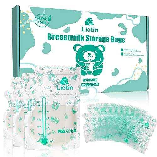 Lictin 120 Stück Muttermilchbeutel, Muttermilch Aufbewahrung Milch Aufbewahrung Bag mit Ausguss & verdicktem Design, Auslaufsicher, BPA-Frei, Milchbeutel für Muttermilch mit Box
