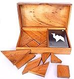 Logica Juegos Art. Doble Tangram - Rompecabeza Geométrico de Madera Preciosa - 65 Puzzles en 1 - Juego Educativo para 1-2 Jugadores - Version de Viaje - Serie Euclide