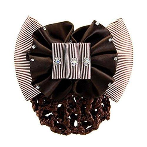 2PCS Mesh cheveux Barrette Snood Elastic Bun Cover Bowtie Hairnets, Marron