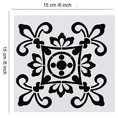 9 Pack Mandala Floor Painting Stencils Set(6x6 inch) Reusable Stencils Laser Cut Painting Template for Wall Tile Wood Furniture Fabric
