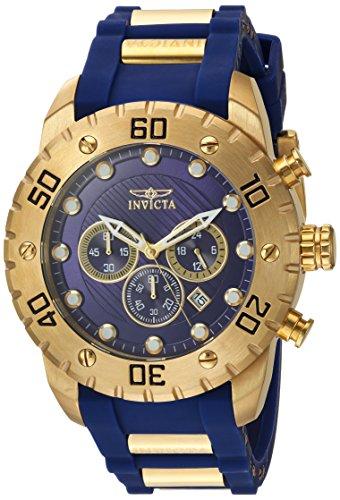 Invicta Pro Diver Scuba - Reloj de cuarzo para hombre, 1.969in, acero inoxidable y poliuretano azul, cronógrafo, color dorado y azul (modelo: 20280)