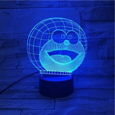 Solo 1 pz Doraemon Night Light LED Cartoon Lampara 3D Illusion Bambini Regalo per bambini Luci decorative Animale Gatto Lampada da comodino Lampada da comodino Decor
