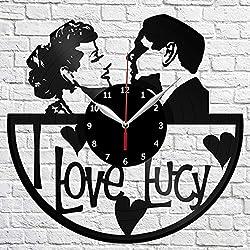 Vinyl Clock - I Love Lucy - Handmade Wall Clock - Vinyl Art Home Decor - Unique Vinyl Record Wall Clock - Exclusive Custom Vinyl Record Clock - Original Gift Idea - Black Clock 12