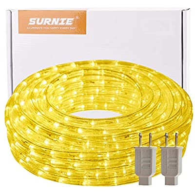 SURNIE 50ft 540 LED Rope Lights, Waterproof, Connectable, 110V, Warm White, Indoor Outdoor Clear Tube Light Rope and String for Deck, Patio, Pool, Camping, Bedroom Decor, Landscape Lighting and More