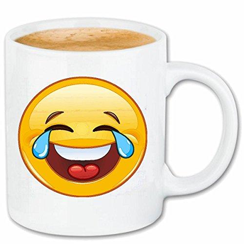 Reifen-Markt Kaffeetasse LUSTIGER Smiley MIT TRÄNEN IN DEN Augen Smileys Smilies Android iPhone Emoticons IOS GRINSEGESICHT Emoticon APP Keramik 330 ml in Weiß