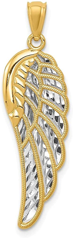 14k Yellow Gold Two Level Angel Wing Pendant