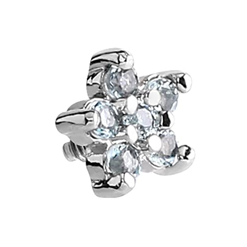 5b19211a8 Micro Dermal Anchor Attachment. Crystal Clear Jewelled Flower - Top only.  Surgical Steel.