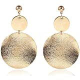 ONLYJUMP Shimmering Round Disc Metal Dangle Earrings for Women Girls Fashion Retro Frosted Gold Silver Big Circle Geometric Statement Ear Jewelry (Gold)