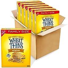 Wheat Thins Whole Grain Crackers 14 Oz Family Size Boxes, Original, 6 Count