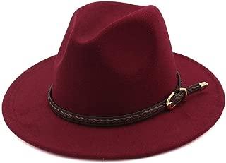BeltFor Elegant Lady Jazz Church Godfather Sombrero Cap Wool Women Men Outback Fedora Hat (Color : Wine red, Size : 56-58)