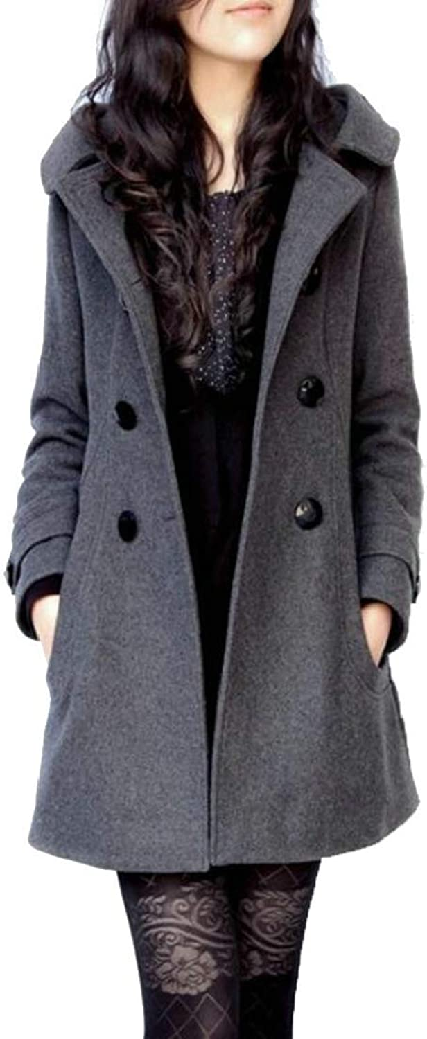 Alion Women's Double Breasted Lapel Trench Coat Hooded Overcoat