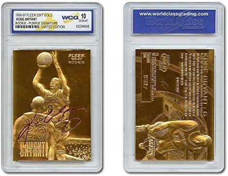 KOBE BRYANT 1996 97 Fleer ROOKIE 23KT Gold Card Sculptured Purple Signature GEM MINT 10 product image