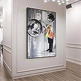 Estetoscopio niño Banksy Street Graffiti arte lienzo carteles de pared imágenes modernas nórdicas para decoración de sala de estar 40x60cm sin marco