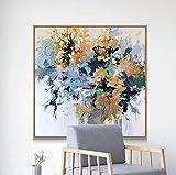 Pintado A Mano De Colores Flores De Plantas Pintura Al Óleo Sobre Lienzo - Abstracto De Gran Tamaño Pintura Mural Cartel Para La Luz De La Entrada Del Pasillo De Lujo Decoración Del Hogar, 100X10