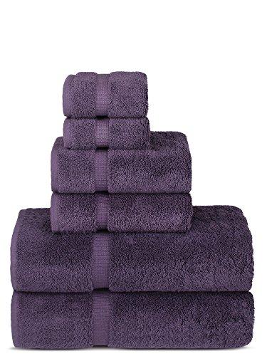 Chakir Turkish Linens Luxury Spa and Hotel Quality Premium Turkish Cotton 6-Piece Towel Set (2 x Bath Towels, 2 x Hand Towels, 2 x Washcloths, Plum)