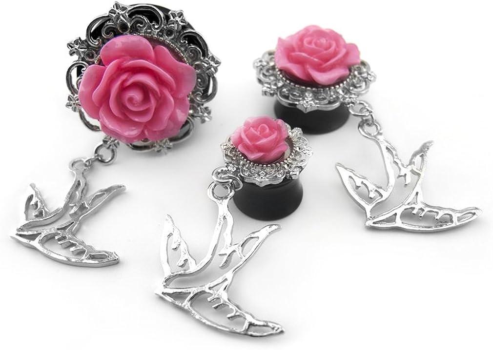 Urban Body Jewelry 1 Pair of 1 Inch (25mm) Pink Rosebud & Swallow Dangle Plugs