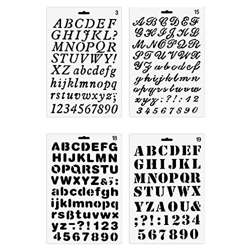 Yxhome 4 plantillas de pintura de letras y números, juego de plantillas de plástico para dibujo de alfabeto, para manualidades, álbumes de recortes, pintura, manualidades, fotos