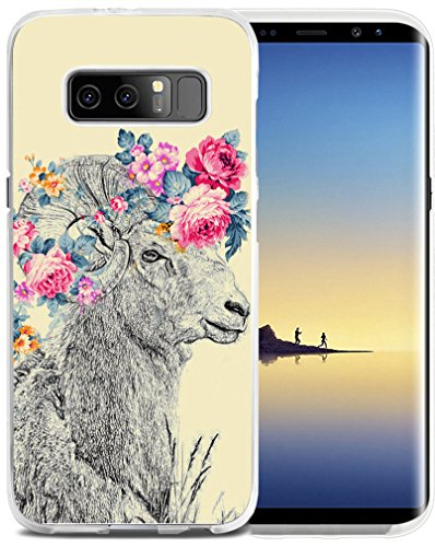 Note 8 Case Sheep - CCLOT Case for Galaxy Note8 - Protector Replacement Cover Compatible with Samsung Note 8 - Vintage Creative Sheep Goat Animal Flower Floral Pattern (Slim Flexible TPU Silicone)