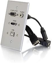 C2G 39707 HDMI, VGA, 3.5mm Audio and USB Pass Through Single Gang Wall Plate, Aluminum
