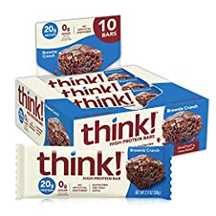 Thinkthin is now Think! our packaging may vary as we transition. Every bite of our Brownie crunch bar is filled with the rich flavor of brownies and almonds covered in delicious chocolate providing an indulgent taste that satisfies hunger. 20 grams p...