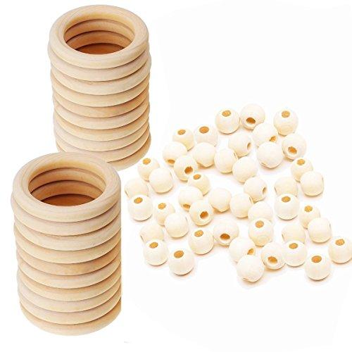 Assorted Macrame Wood Beads Macrame Large Hole Unfinished Wood Rings Circles Macrame Wall Hanging Craft DIY Kit
