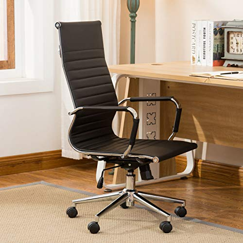 Alek...Shop Modern Luxury Design Ergonomic Executive Chair PU Leather High Back Adjust High-Low, Home Office Computer Desk Task Swivel 360, Black
