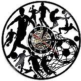 FUTIIF Football Horloge Murale Joueur De Football Coup De Pied Ball Net But Football Terrain Ballon Jeu D'Équipe Disque Vinyle Horloge Non LED