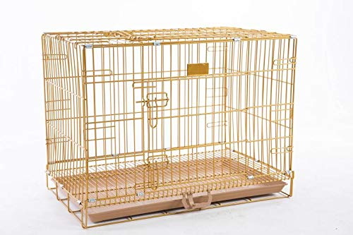 "HOMEY PET INC 24"" to 48"" Dog Cat Rabbit Wire Crate with Tray and Optional Floor Grid (w/Grid, 24""-Gold) Categories"