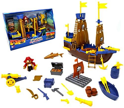 VENTURA TRADING Nave Pirata Toy Pirate Boat Set da Gioco Nave Pirata Treasure PlaySet con Figura Giocattolo Pirata Barca Giocattolo