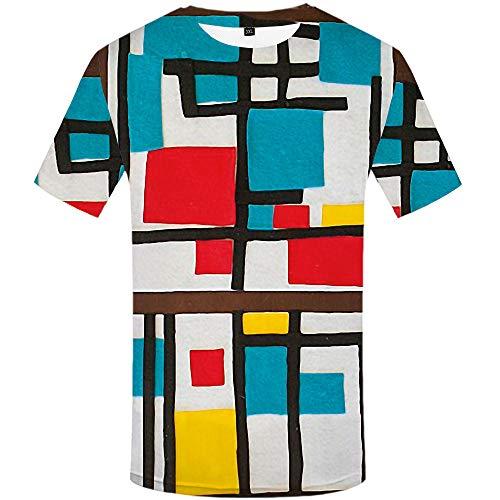Kurzarm Rundhals Sweatshirt Lose Beiläufig Impression geometrischen Stil T-Shirt männlich 3DT-Shirt Kurzarm Rundhals Digitaldruck lässig Kurzarm-Color_L